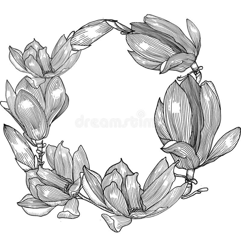 Tarjeta con la magnolia Mano drenada Geaphics libre illustration