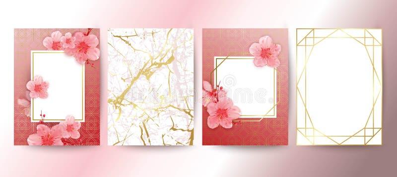 Tarjeta con las flores de cerezo Marco geométrico Blanco y textura del mármol del oro Flores de Sakura Diseño de la invitación de ilustración del vector