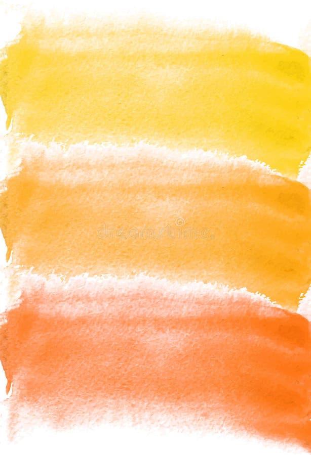 Tarjeta con las manchas blancas /negras de la acuarela Colores amarillos y anaranjados Pintura para su diseño Contexto texturizad libre illustration