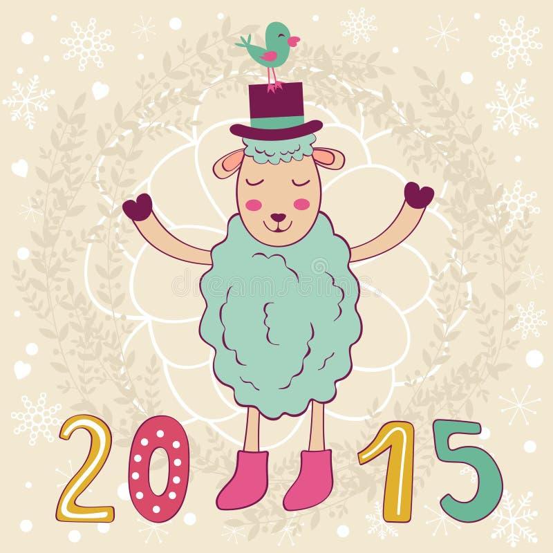 tarjeta 2015 con las ovejas y el pájaro felices libre illustration