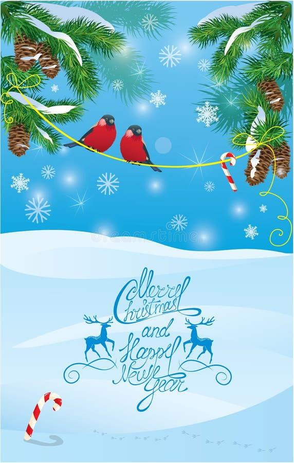 Tarjeta con las ramas de árbol de abeto y los pájaros del piñonero en azul claro ilustración del vector