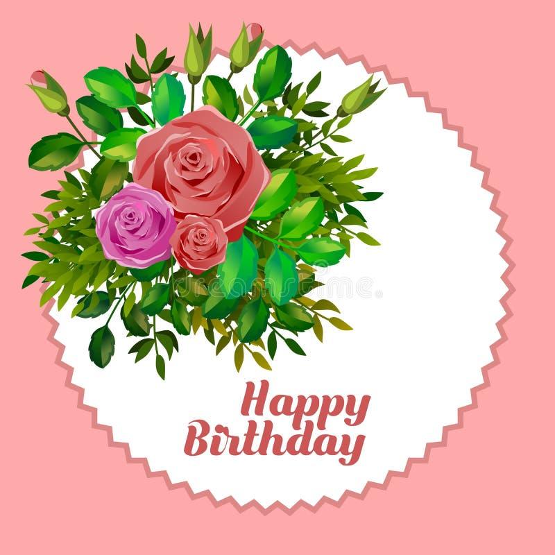 Tarjeta con las rosas y el esmero del feliz cumpleaños libre illustration