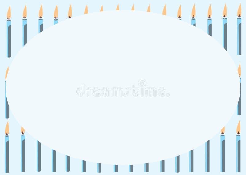 Tarjeta con las velas azules imagen de archivo libre de regalías