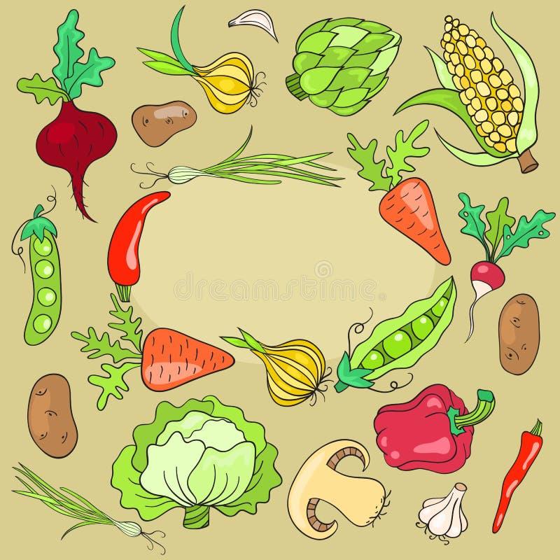 Tarjeta con las verduras libre illustration