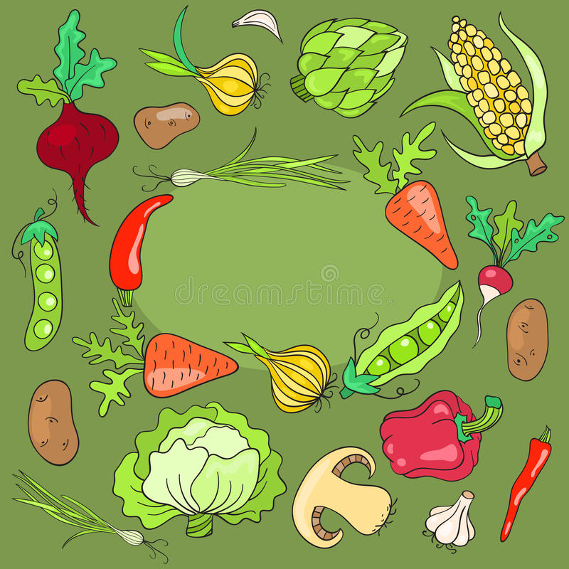 Tarjeta con las verduras ilustración del vector