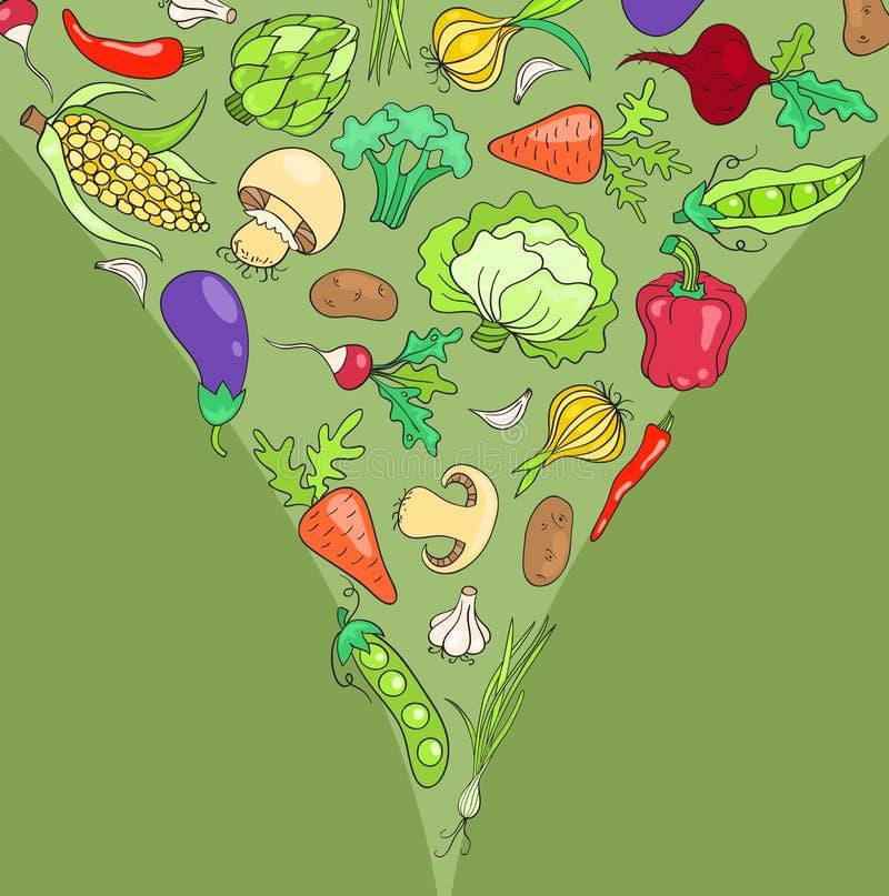 Tarjeta con las verduras stock de ilustración