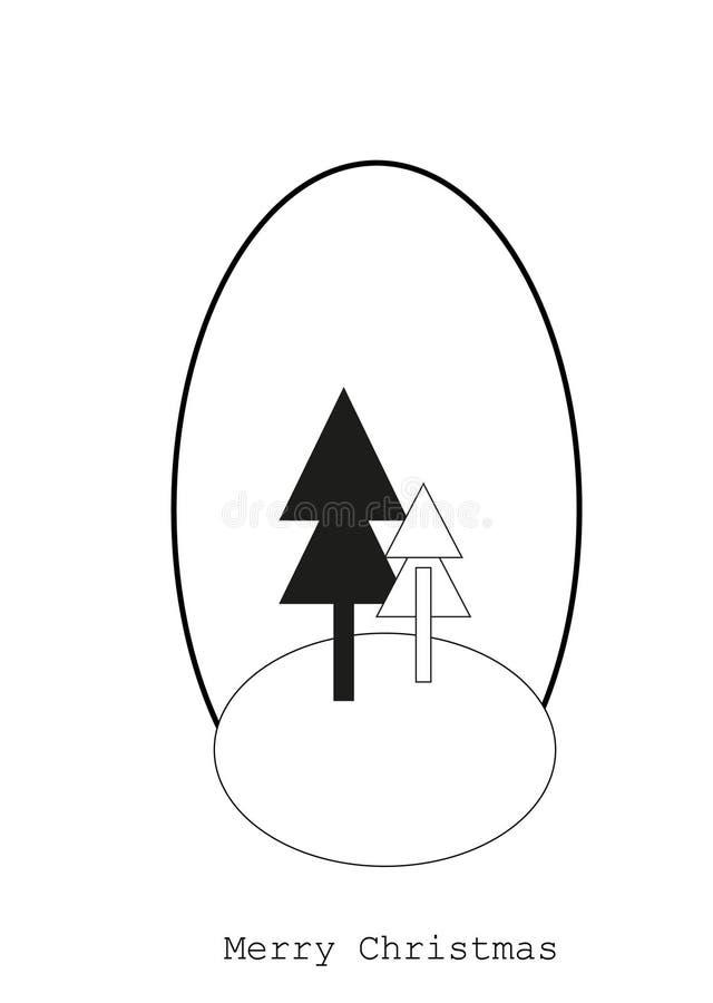 Tarjeta con los árboles de navidad, concepto de la Feliz Navidad imágenes de archivo libres de regalías