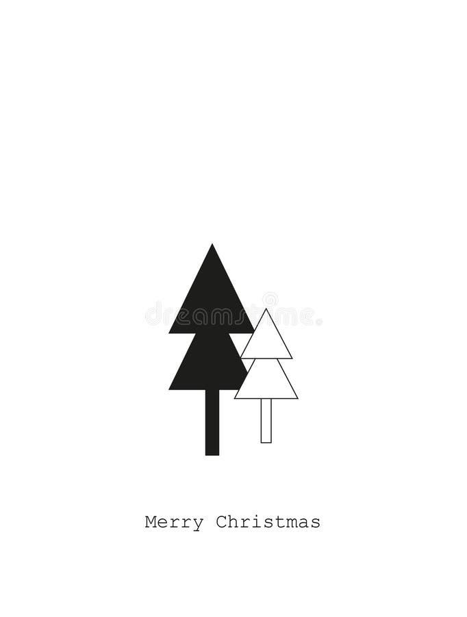 Tarjeta con los árboles de navidad, concepto de la Feliz Navidad imagenes de archivo