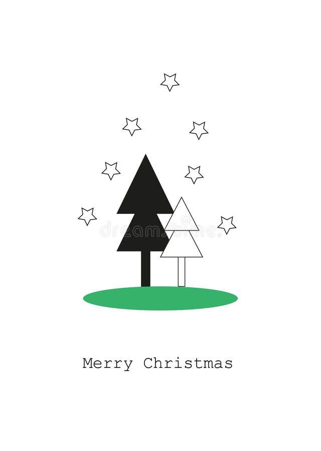 Tarjeta con los árboles de navidad, concepto de la Feliz Navidad foto de archivo libre de regalías