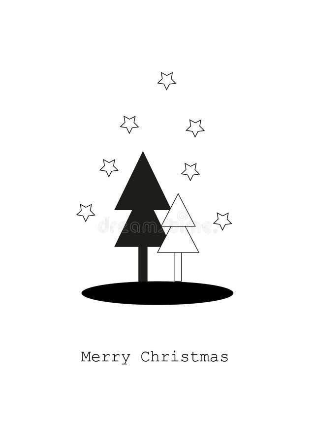 Tarjeta con los árboles de navidad, concepto de la Feliz Navidad fotografía de archivo libre de regalías