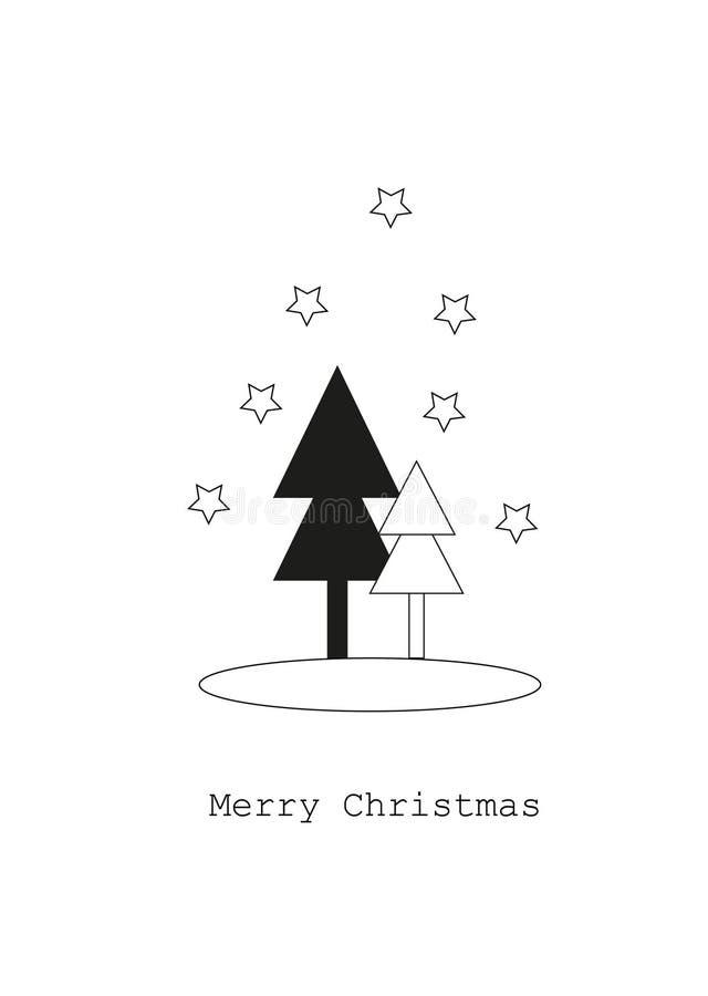 Tarjeta con los árboles de navidad, concepto de la Feliz Navidad fotografía de archivo