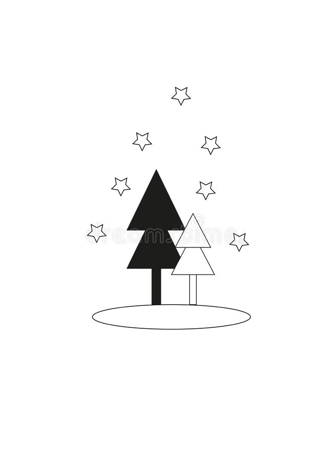 Tarjeta con los árboles de navidad, concepto de la Feliz Navidad fotos de archivo