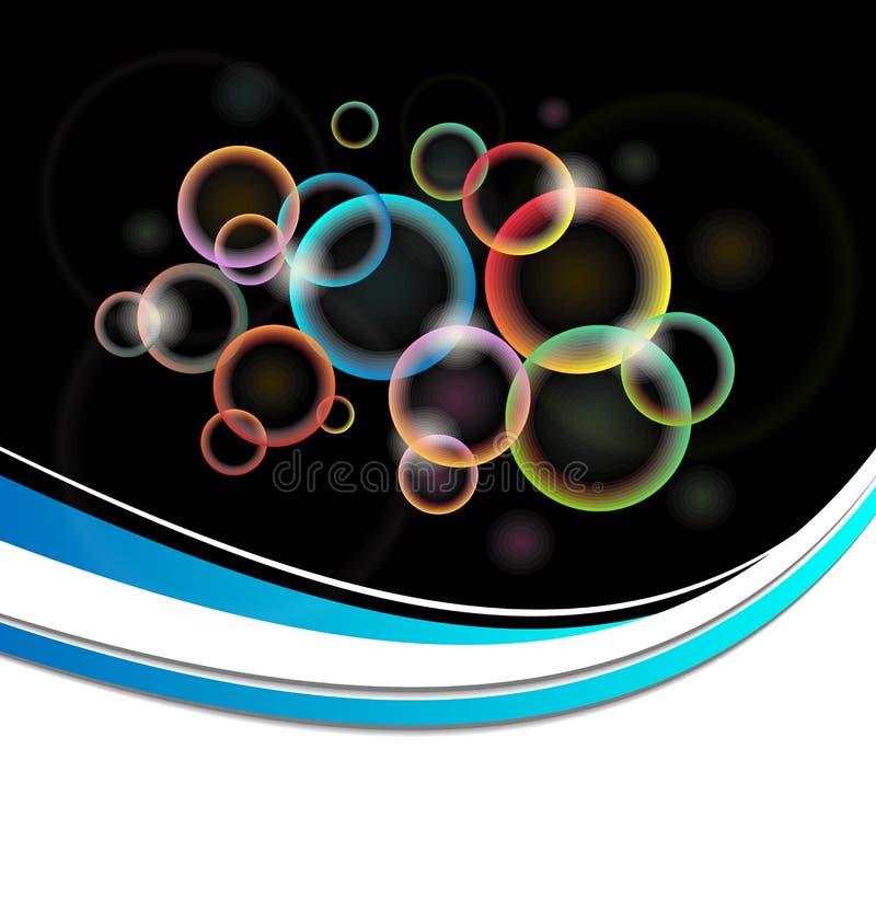 Tarjeta con los círculos iluminados multicolores del conjunto ilustración del vector