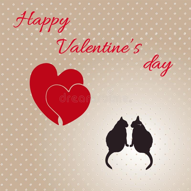 Tarjeta con los corazones y los gatos para el día de tarjeta del día de San Valentín stock de ilustración