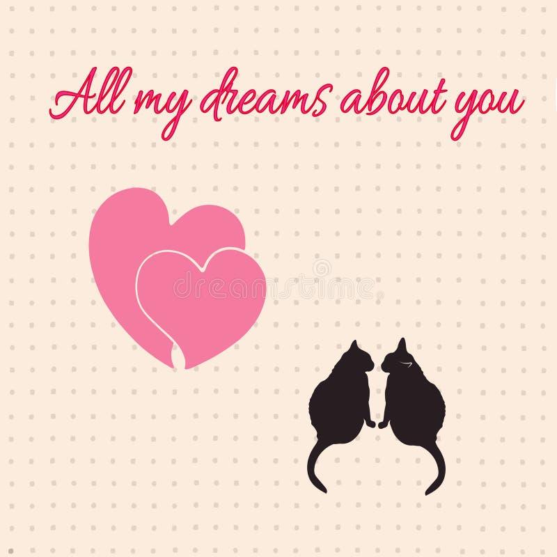 Tarjeta con los corazones y los gatos para el día de tarjeta del día de San Valentín Ilustración del vector stock de ilustración