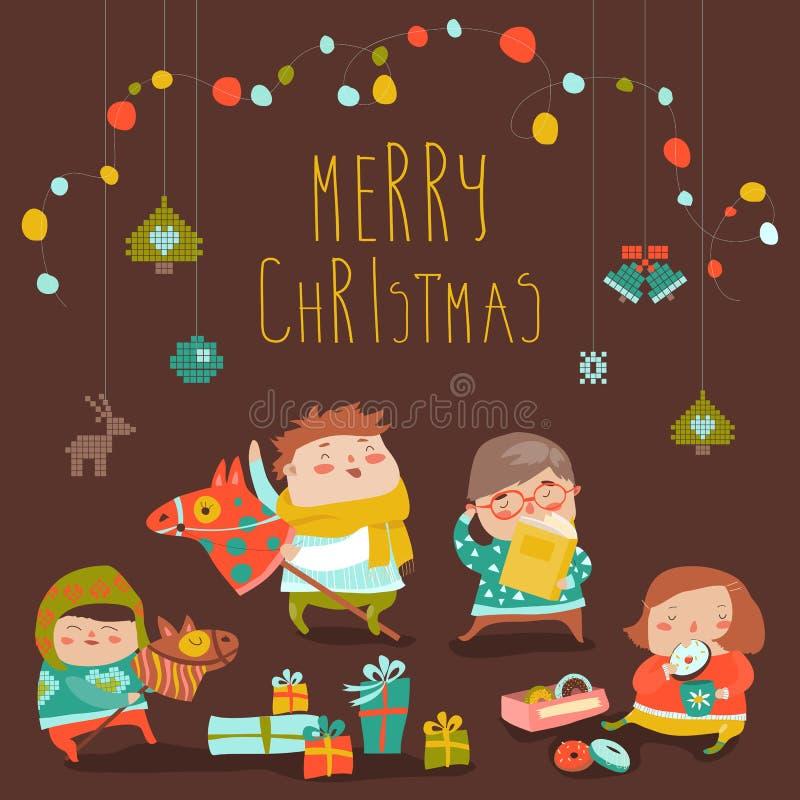 Tarjeta con los niños, los dulces y los regalos de Navidad lindos ilustración del vector