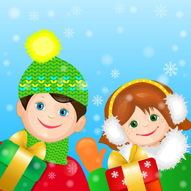 Tarjeta con los niños y los regalos alegres. libre illustration