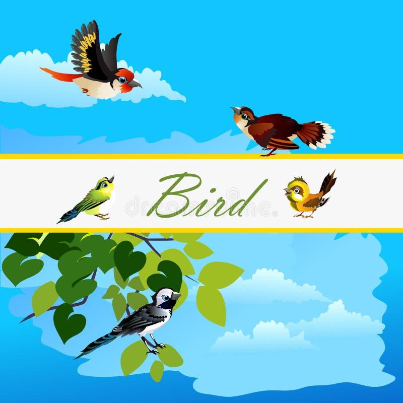 Tarjeta con los pájaros que vuelan junto y el pájaro solo stock de ilustración