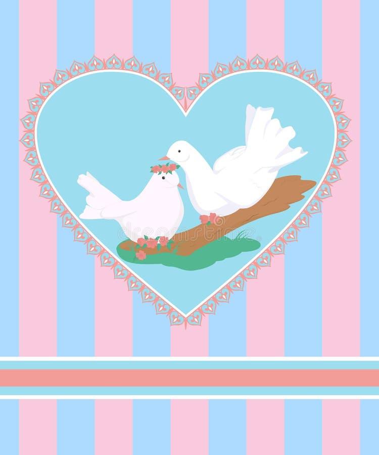 Tarjeta con los pares de la historieta de las palomas blancas en amor ilustración del vector