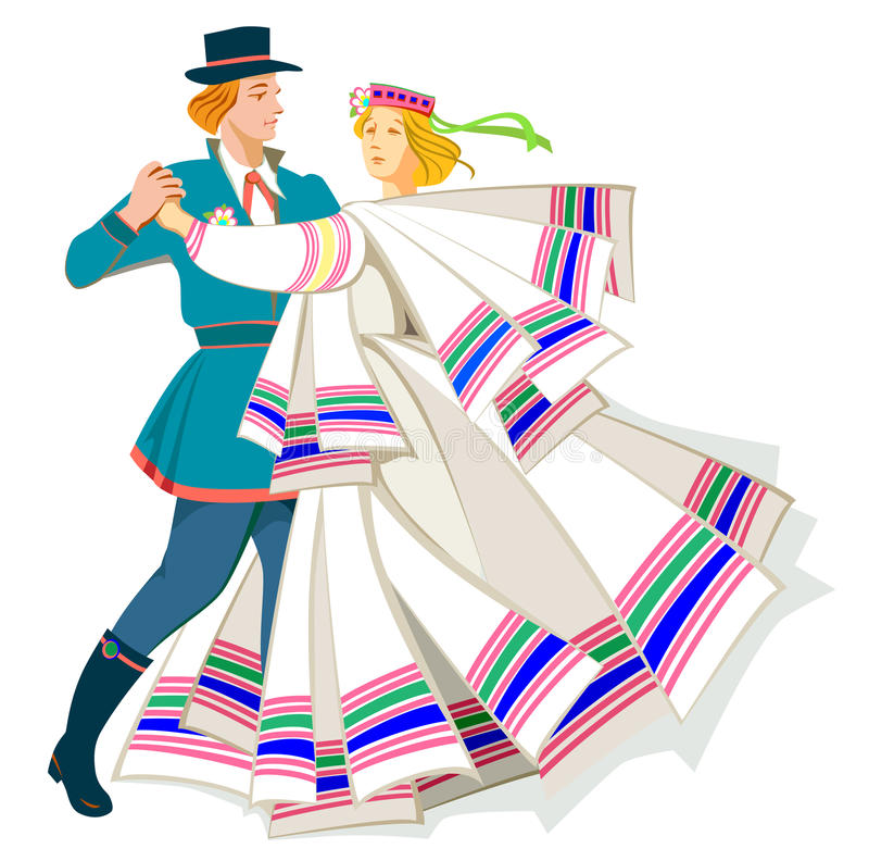 Tarjeta con los pares que bailan danza popular báltica stock de ilustración