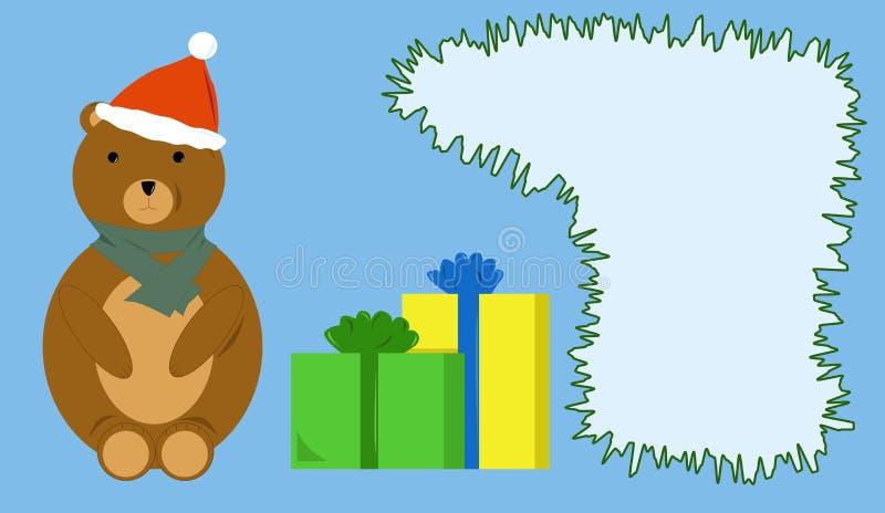 Tarjeta con los regalos y el oso de peluche stock de ilustración
