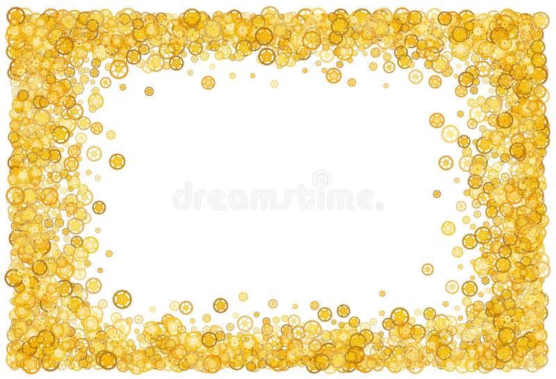 Tarjeta con muchos engranajes Frontera del oro shimmer Marco de oro de engranajes ilustración del vector