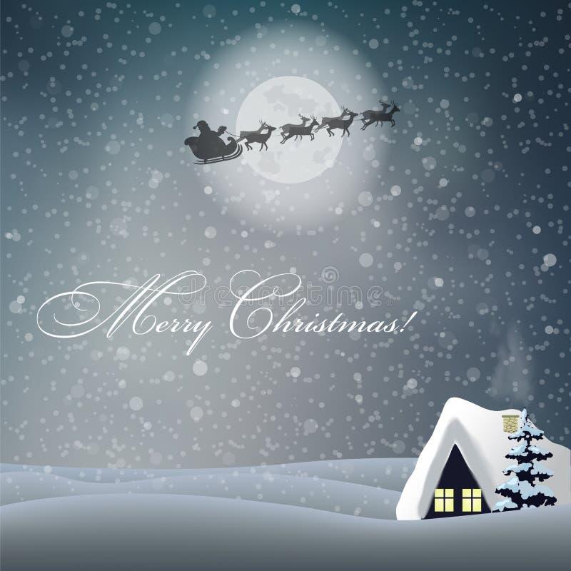 Tarjeta con paisaje de la noche, casa, luna, trineo de la Feliz Navidad del montar a caballo de Papá Noel ilustración del vector