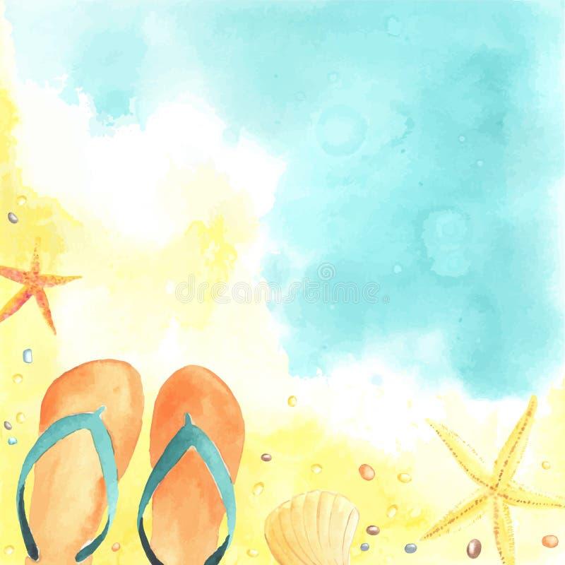 Tarjeta con playa y las estrellas de mar ilustración del vector