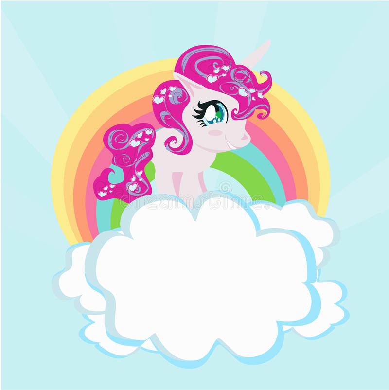 Tarjeta con un arco iris lindo del unicornio en las nubes. stock de ilustración