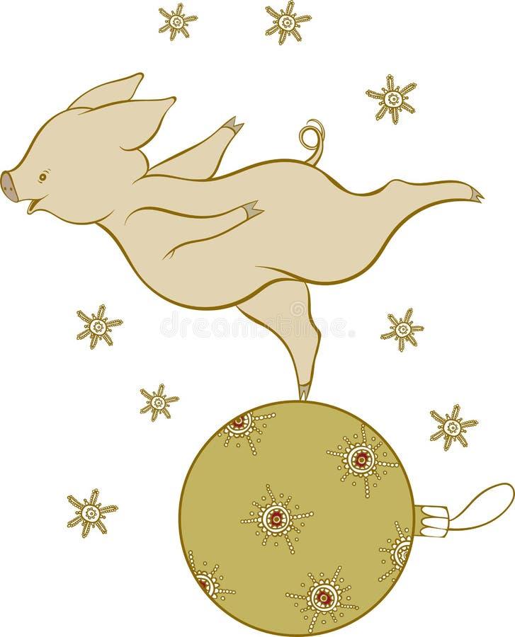 Tarjeta con un poco cochinillo en una bola de la Navidad, illustrati de la Navidad libre illustration