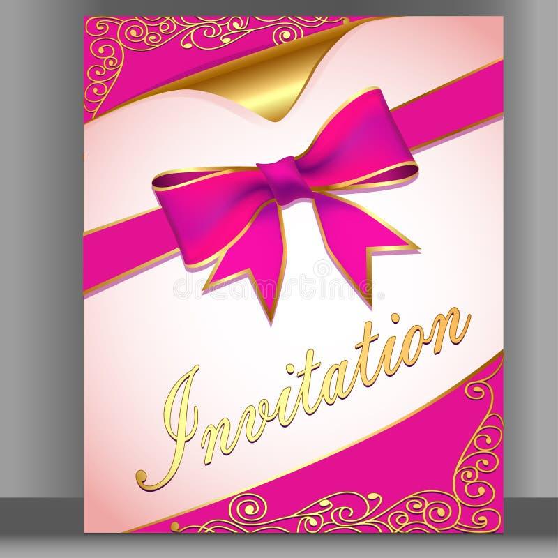 tarjeta con una cinta rosada para una invitación ilustración del vector