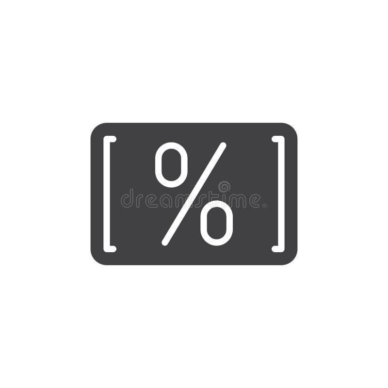 Tarjeta con vector del icono del por ciento stock de ilustración