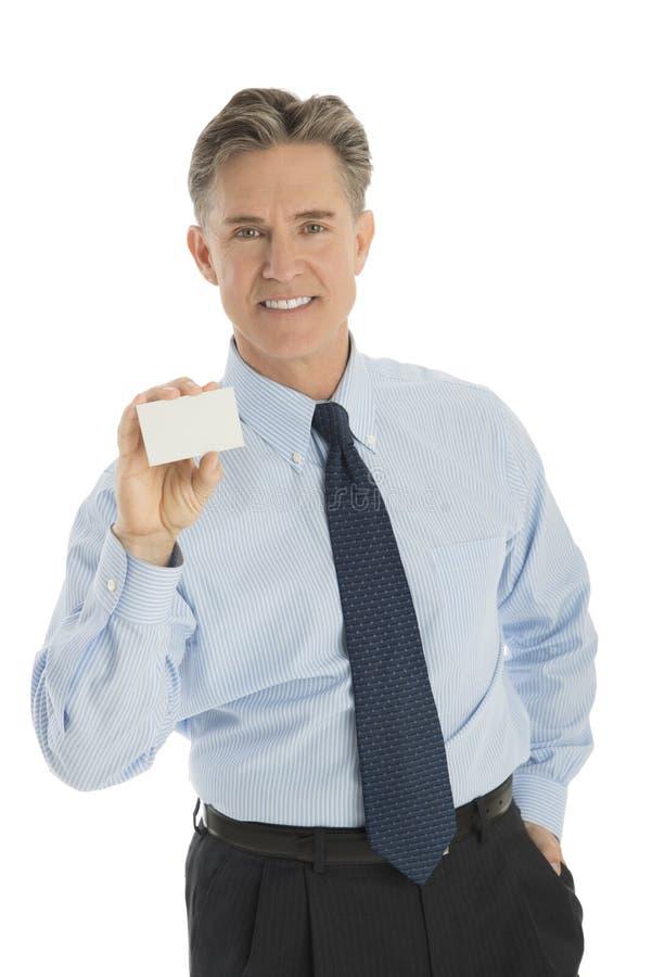 Tarjeta confiada de Showing Blank Business del hombre de negocios imagenes de archivo