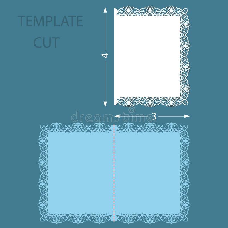 Tarjeta congratulatoria del saludo de la plantilla con una frontera decorativa en el borde Corte del laser de la invitación de la libre illustration