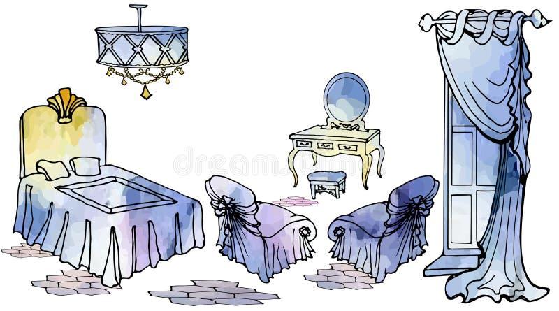 Tarjeta corta 2 del dormitorio de la señora ilustración del vector