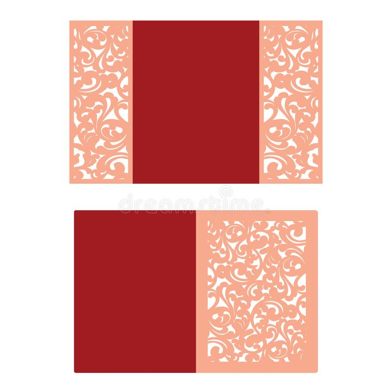 Tarjeta cortada papel El laser cortó el modelo para la tarjeta de la invitación para casarse Recortes de papel Plantilla de la in ilustración del vector