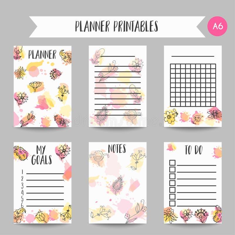 Tarjeta creativa del fondo con las flores Elementos florales drenados mano Plantilla del vector del diseño del organizador y de l libre illustration