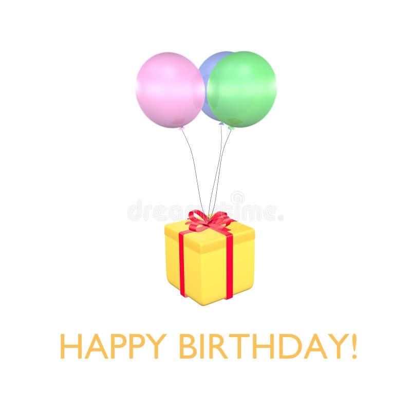 Tarjeta 3D del feliz cumpleaños libre illustration