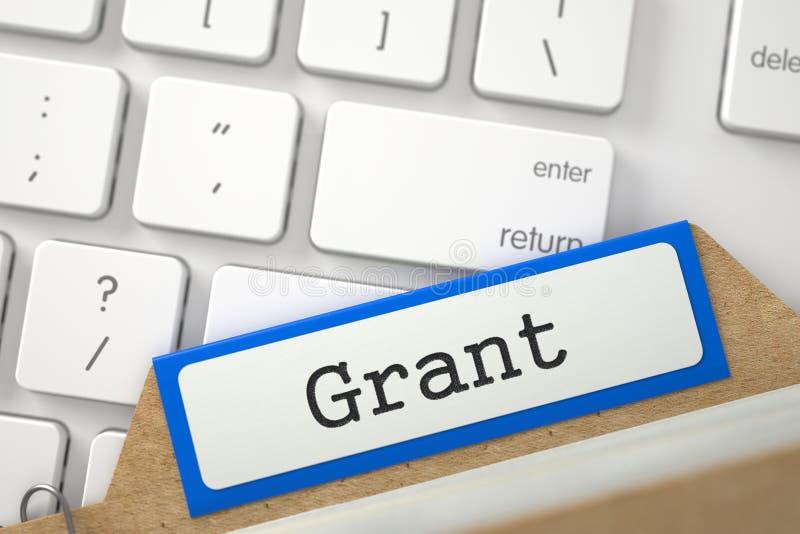 Tarjeta de índice con la inscripción Grant 3d imagen de archivo