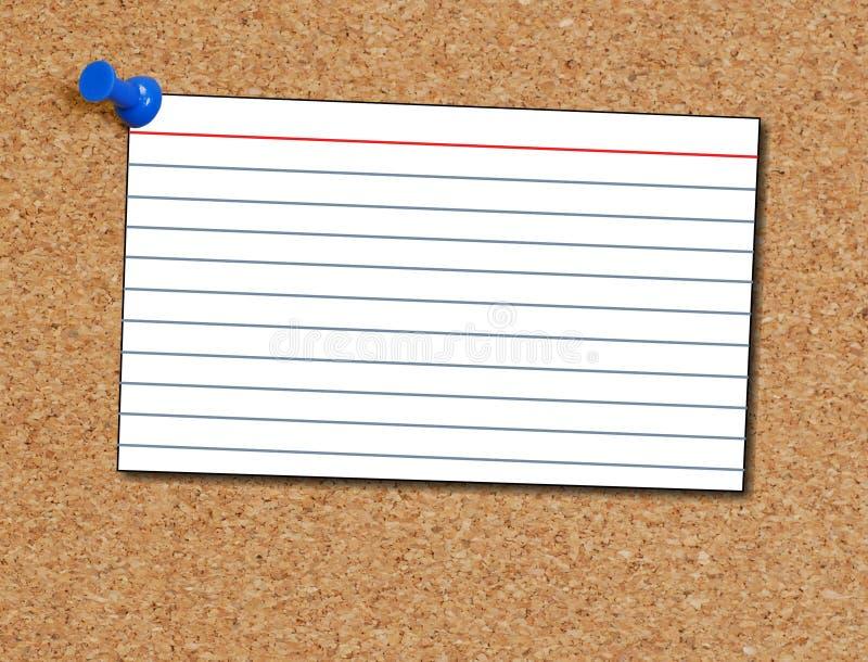 Tarjeta de índice en corkboard foto de archivo