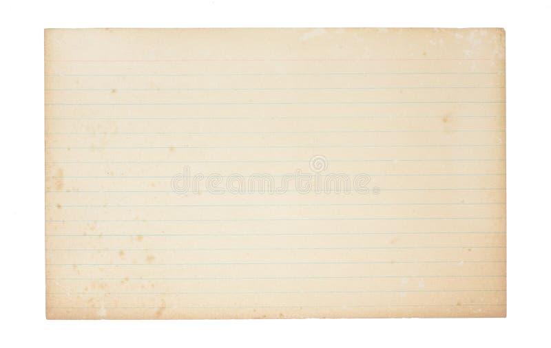 Tarjeta de índice vieja, que amarillea foto de archivo