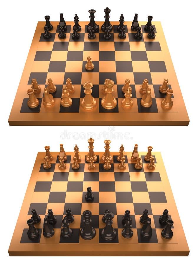 Tarjeta de ajedrez con el primer movimiento aislado en blanco stock de ilustración