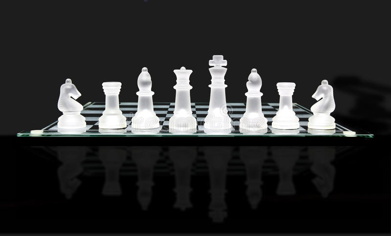 Tarjeta de ajedrez de cristal fotos de archivo