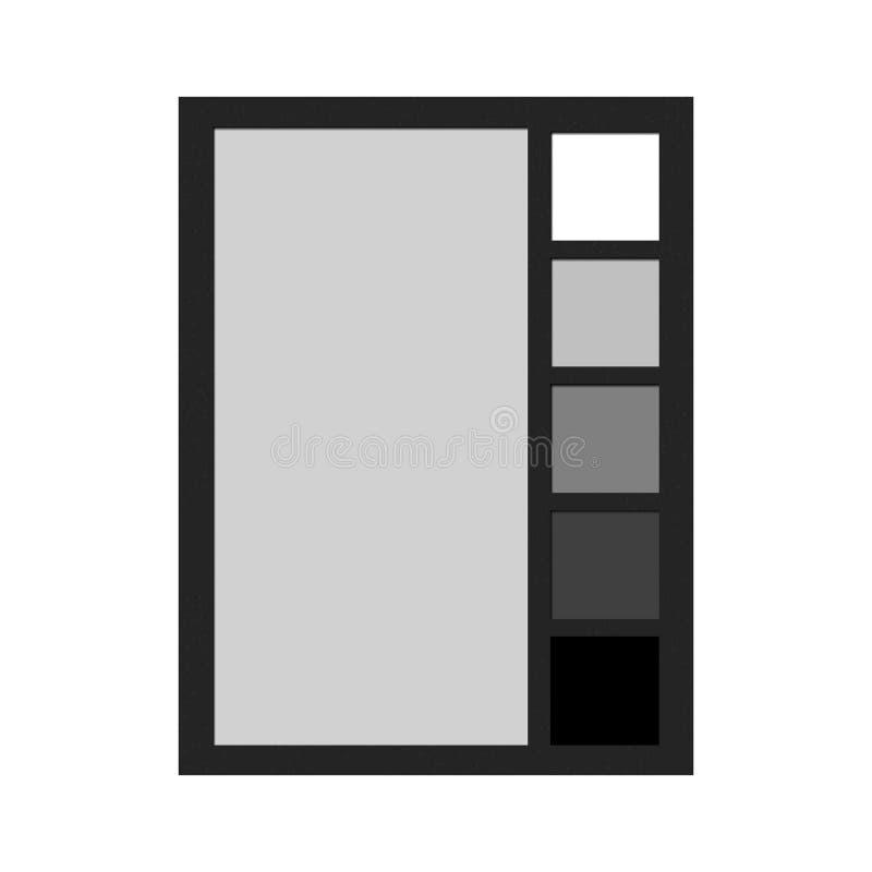 Tarjeta de balanza blanco y negro de Professoinal con la muestra gris neutral del 18 por ciento stock de ilustración