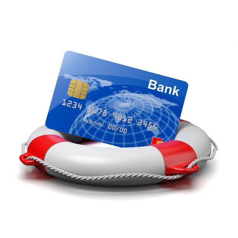 Tarjeta de banco en un salvavidas ilustración del vector