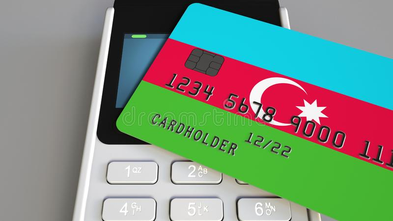 Tarjeta de banco plástica que ofrece la bandera de Azerbaijan y del terminal del pago de la posición Sistema bancario azerbaiyano libre illustration