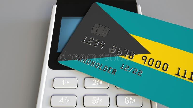 Tarjeta de banco plástica que ofrece la bandera de Bahamas y del terminal del pago de la posición Sistema bancario bahamense o 3D stock de ilustración