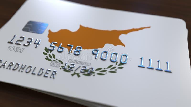 Tarjeta de banco plástica que ofrece la bandera de Chipre Representación relacionada al sistema bancaria nacional chipriota 3D stock de ilustración