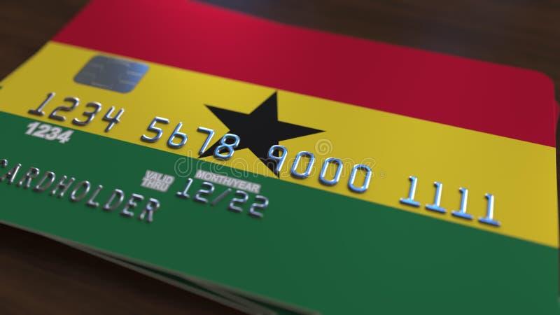 Tarjeta de banco plástica que ofrece la bandera de Ghana Representación relacionada al sistema bancaria nacional ghanesa 3D ilustración del vector