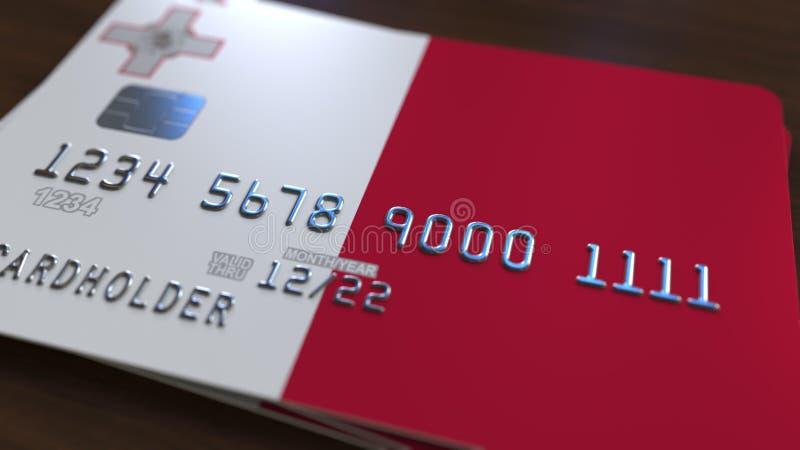 Tarjeta de banco plástica que ofrece la bandera de Malta Representación relacionada al sistema bancaria nacional maltesa 3D ilustración del vector